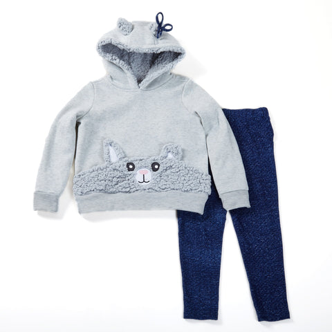 Fleece Hoodie with Bunny Sherpa Pocket and Denim Look Legging Set