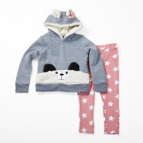 Fleece Hoodie with Panda Sherpa Pocket and Star Legging Set