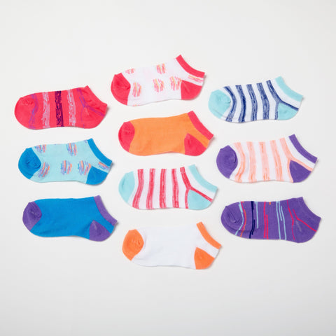 Girls' Dots + Stripes 6-Pack Low Cut Socks 6-8.5