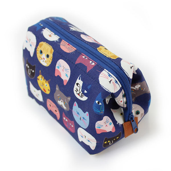 Zippered Toiletry Pouch | Cat Expo | Blue - CHERRYSTONE
