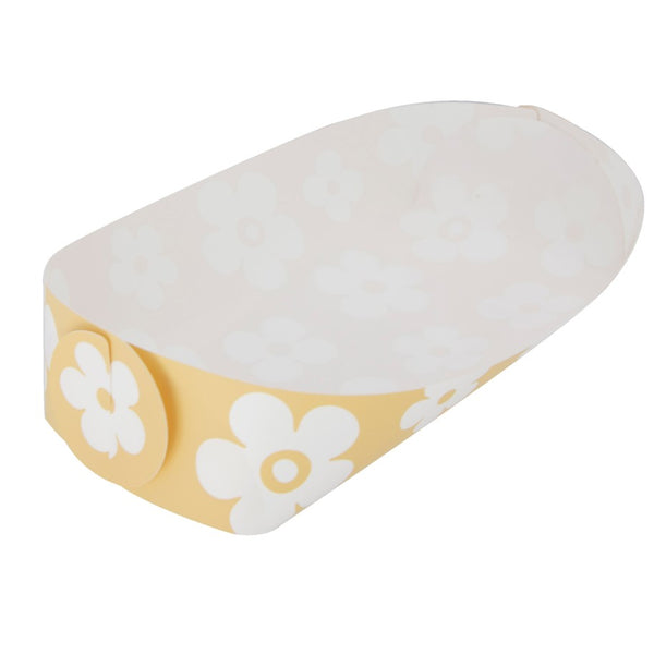 Reusable Foldable Snack Tray | Medium | Yellow Flower Pattern - CHERRYSTONE