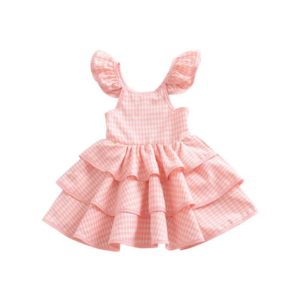Girl's Pink Grid Layered Dress