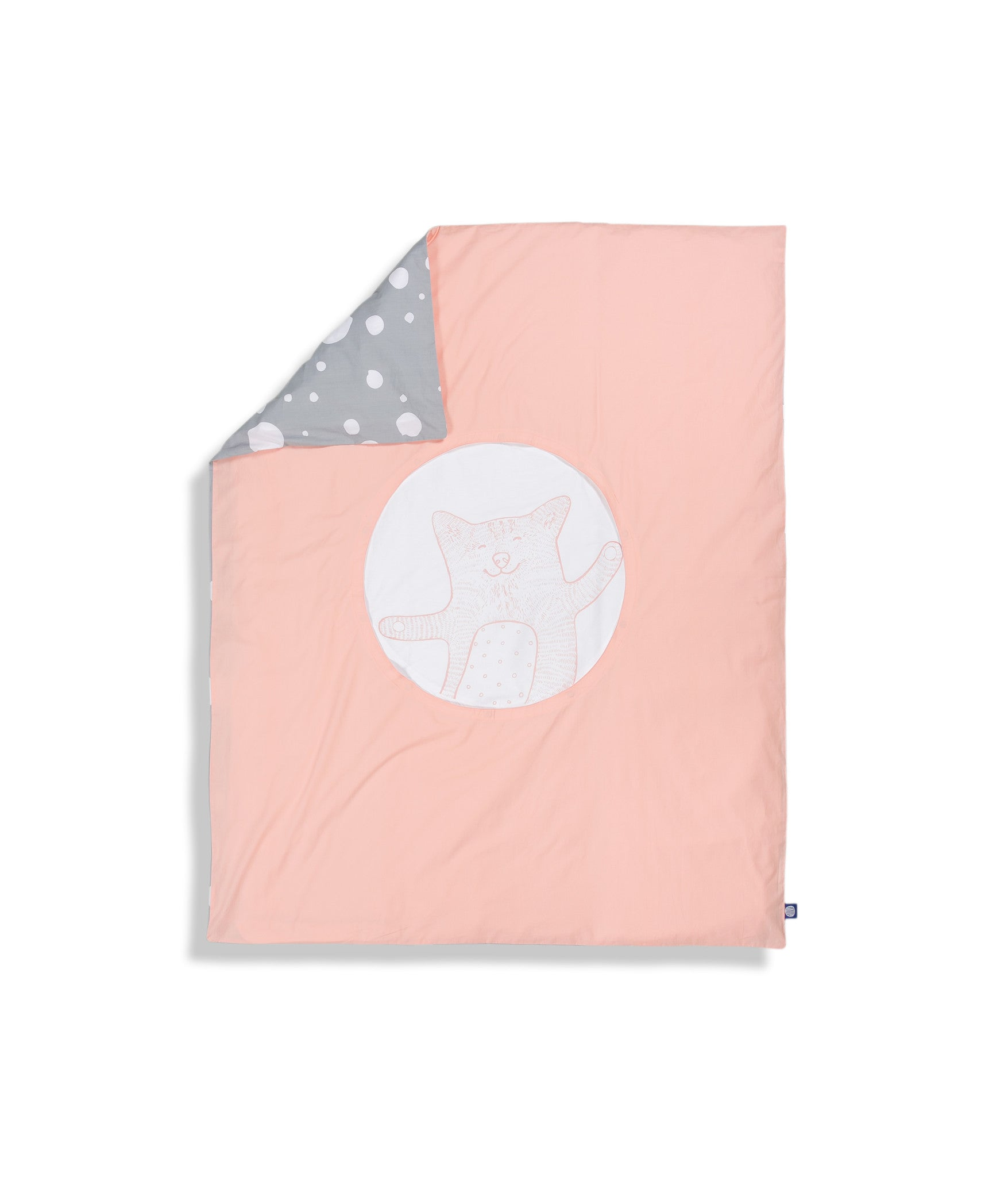 Organic cotton pink cot bed duvet cover. Baby bedding. Pink and grey colours. Dotted pattern bed linen. Innovative design. Main character cat Shoo.