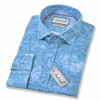 Ocean Blue  Andriali Slim Fit Dress Shirt.  Made of the finest 100% cotton featuring the Andriali emblem.   Our designers are usually in the clouds dreaming and this time they were in the ocean surfing.