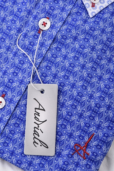 Signature Blue  Andriali slim fit dress shirt - Blue/White (Red Embroidered Logo)  First impression with an impact. Say it all with what you wear with our best seller.