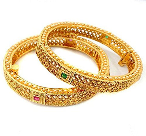 Indian Fashionable Golden Polished Ruby-Green Combination Stone Bangles Pairs