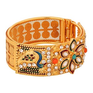 Indian Traditional  Rhinestone Faux Ruby Emerald 18K Gold Plated Hinged Cuff Bracelet