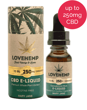 Love Hemp UK CBD Vape Oil e Liquid (100mg or 250mg) MARY JANE-for the Ageless