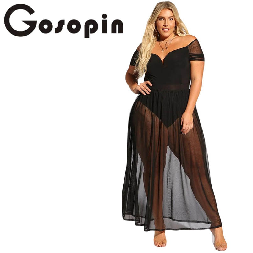 Gosopin Plus Size Hollow Out Summer Dress V Neck Sexy Club Off Shoulder Dresses Black Sheer Allure Beach Long Dress LC610183