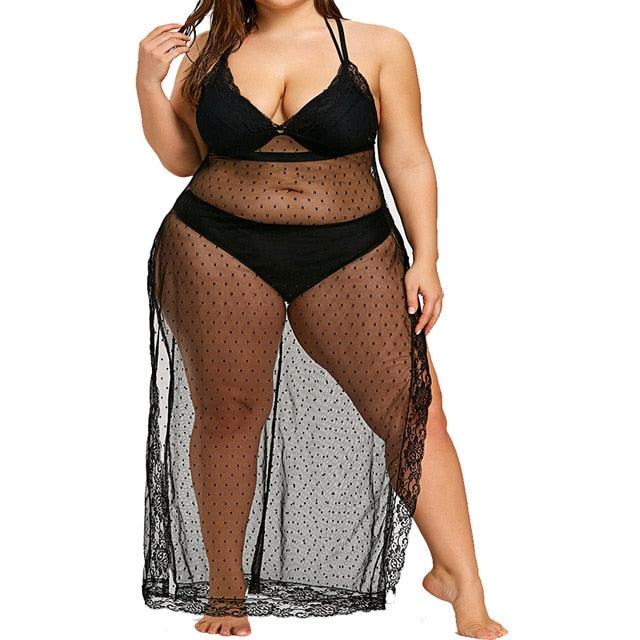 Plus Size Beach Dress Cover Up Swimsuit Swimwear Women 2019 Swim Wear Black Coverup Beachwear Long Bathing Suit Lace Big 5Xl 4Xl