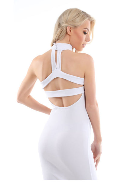 Jessie White Choker Neck Detail Bandeau Midi Dress