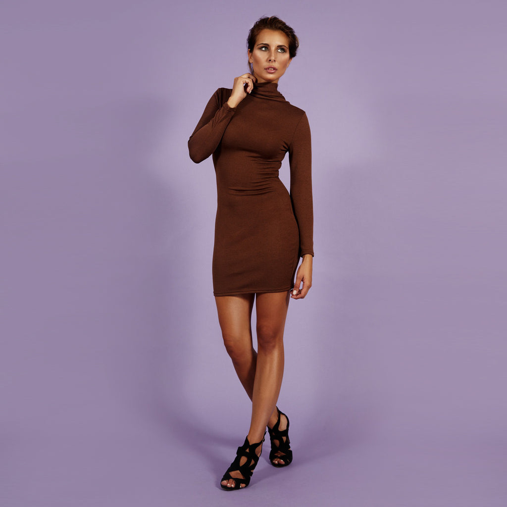 'Heather' Dress Cross Back Brown