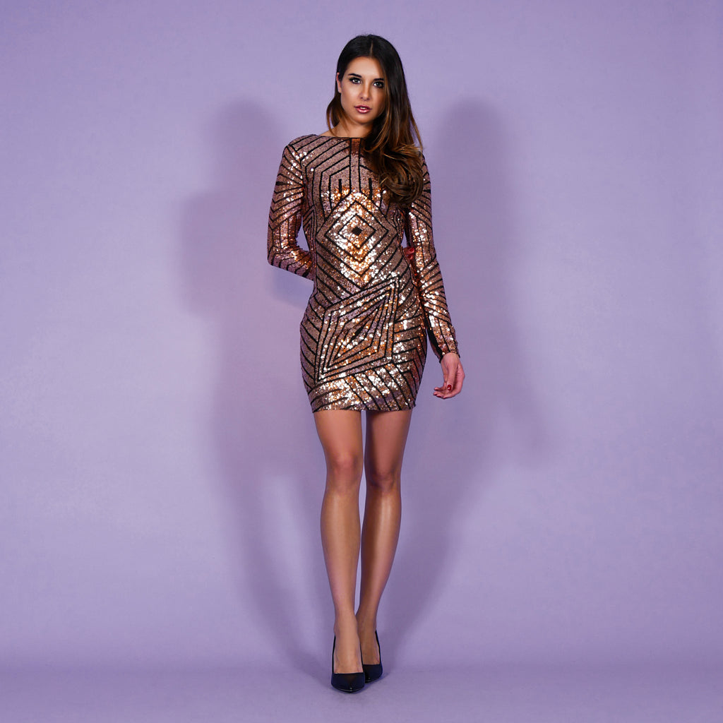 'Gloria' Dress Rosegold