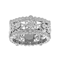 Antique Style White Gold Diamond Floral Ring
