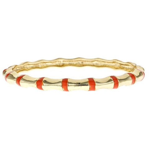 Enamel and Vermeil Orange Bamboo Bangle by Fornash