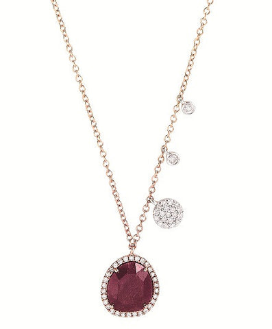 Oval Disc Encrusted with Diamonds Necklace