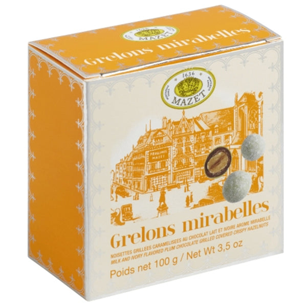 Grelons Mirabelles - Plum Chocolate covered Crispy Almonds & Hazelnuts - La Riviere Confiserie