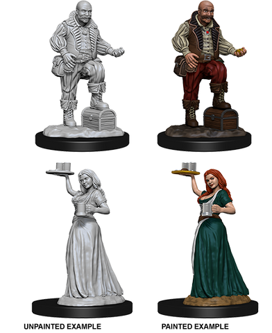 WZK72584 Merchants (Serving Girl Merchants (2 Minis) - WizKids Unpainted Minis