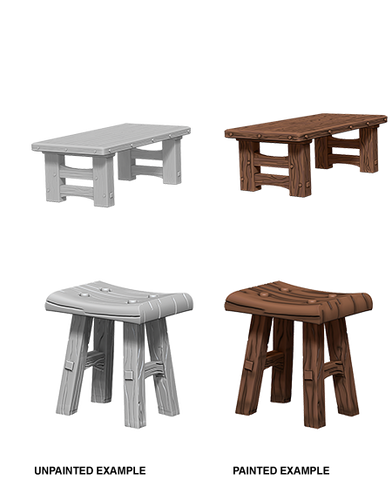 WZK72593 Wooden Tables & Stools (5 minis) - Deep Cuts