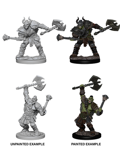 WZK72613 Half-Orc Male Barbarian (2 minis) - Pathfinder Deep Cuts