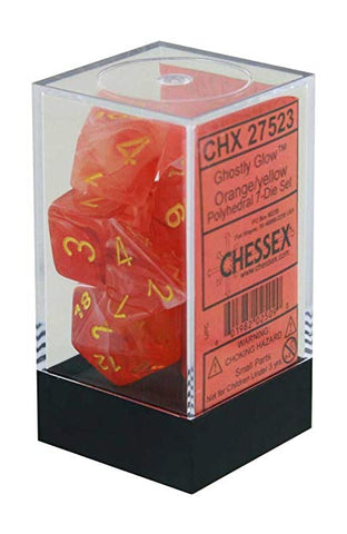 CHX27523 Ghostly Glow Orange/Yellow Polyhedral Dice set (7 dice)