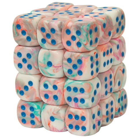 CHX27944 12mm d6 Dice Block: Festive Pop Art w/blue (expected in stock on 16th July)