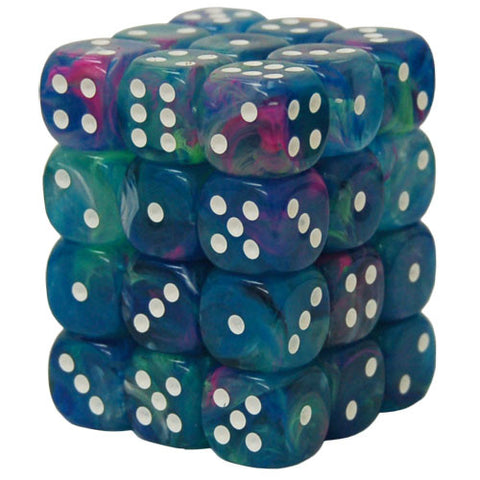 CHX27946 12mm d6 Dice Block: Festive Waterlily w/white (expected in stock on 16th July)