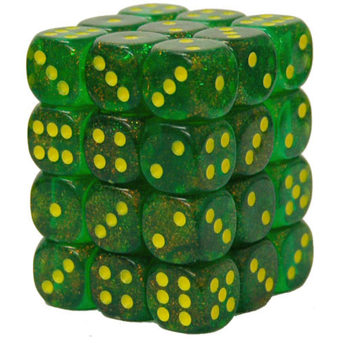 CHX27965 12mm d6 Dice Block: Borealis Maple Green/yellow (expected in stock on 16th July)