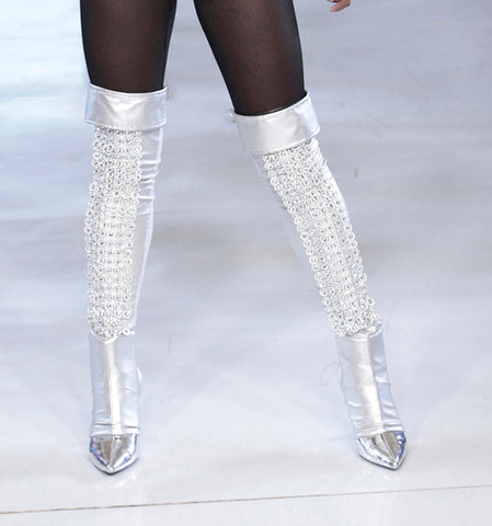 SILVER SEQUIN THIGH BOOT LEGGING