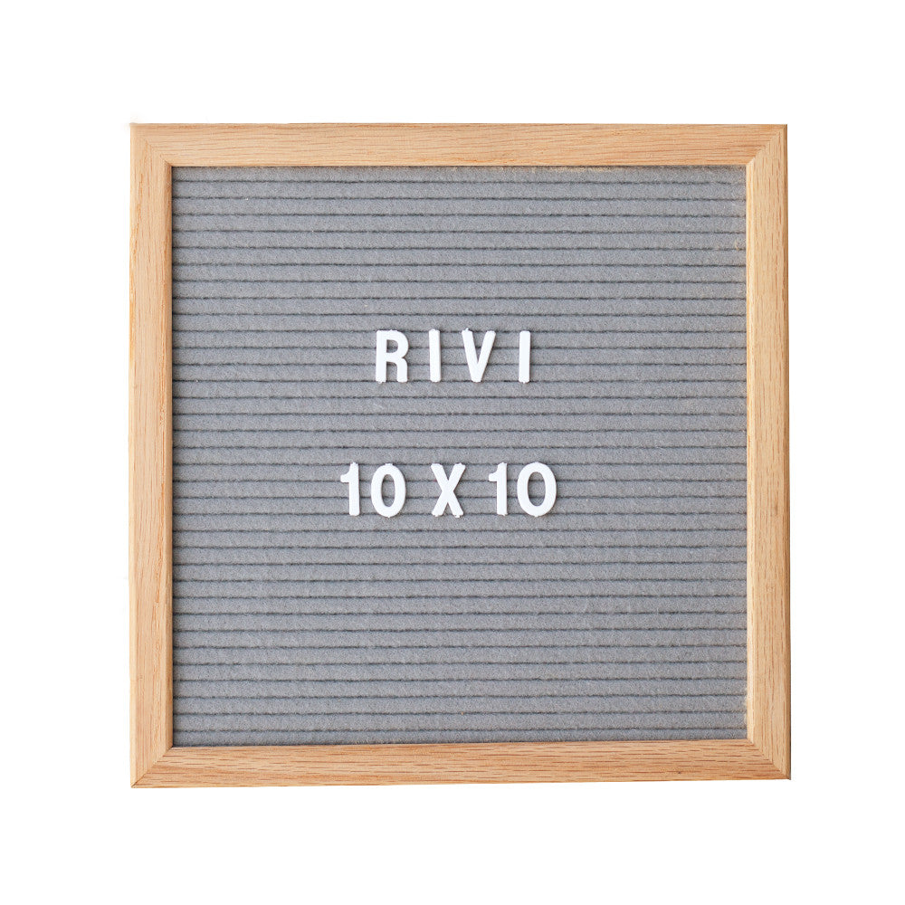 10 x 10 GREY FELT, OAK FRAME LETTERBOARD - RIVI co. letter boards