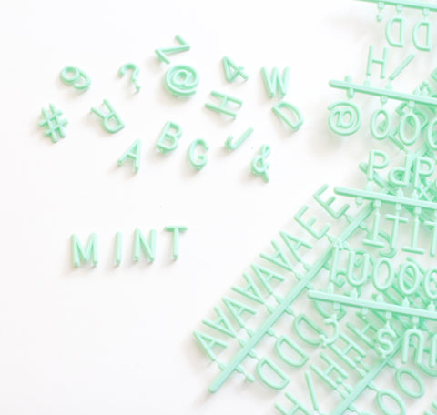 "MINT GREEN 3/4"" HELVETICA LETTER SET - 290 CHARACTERS - RIVI co. letter boards"
