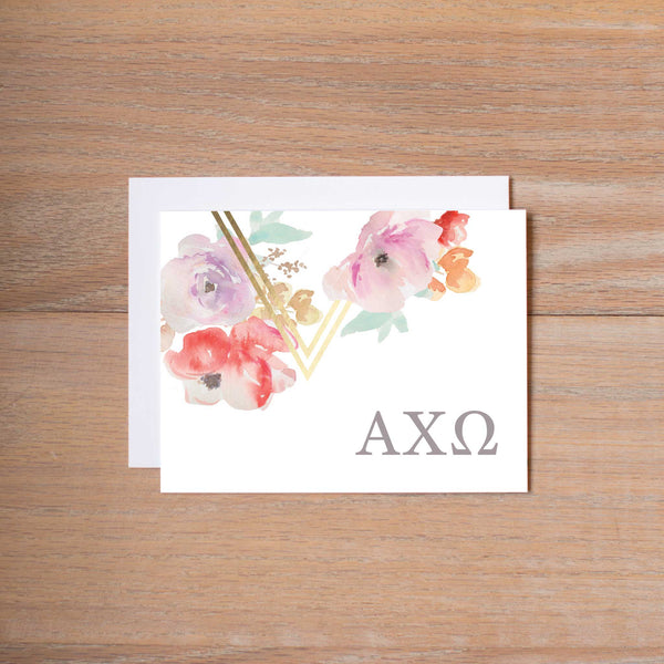 Alpha Chi Omega Geometric Bouquet Sorority Note Cards