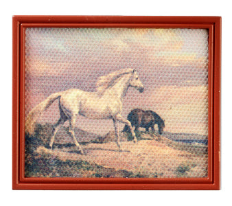 Horses In A Brown Frame