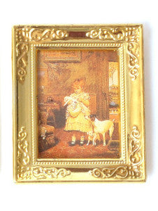 Girl And Her Dogs In a Gold Frame