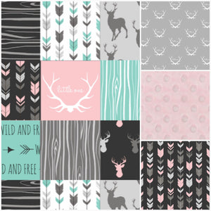 Custom Girl Crib Bedding - Little One Antlers, Wild and Free, Arrows, and blush, Antler Crib Bedding