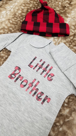 Baby Gown  - Heather Gray Gown with Red Black Check Little Brother Going Home Outfit