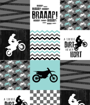 Custom Boy Crib Bedding - Mint Dirt Bike, Gray Minky, and Race Flag Check, Motocross Crib Bedding