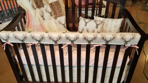 2 Day Ship Girl Crib Bedding - Tulip Fawn, Fawn Minky, White Tan Arrow, Ivory, and Blush, Baby Woodland Crib Bedding