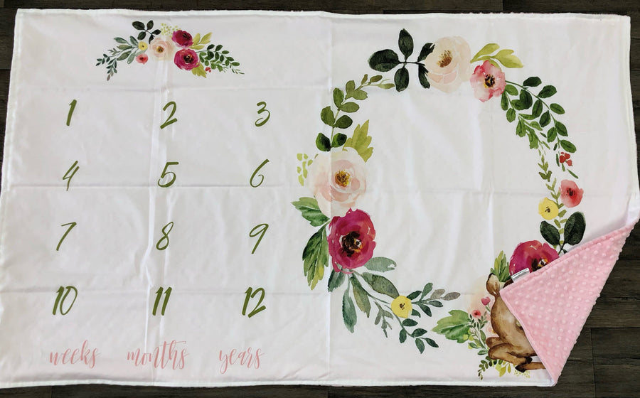 Growth Blanket - Floral and fawn