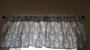 Arrow Curtain Panels or Valance - Gray, Coral, Navy,  Candy Pink, Mint, Red, Orange