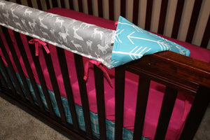 Ready to Ship Girl Crib Bedding - Gray Deer, Apache Blue Arrow, Fuschia Pink, and Gray, Woodland Collection