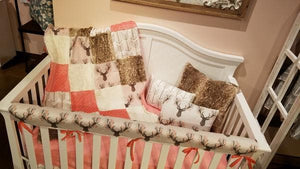 Ready to Ship Girl Crib Bedding - Tulip Fawn, Fawn Minky, White Tan Arrow, Coral,  Fawn Crib Bedding