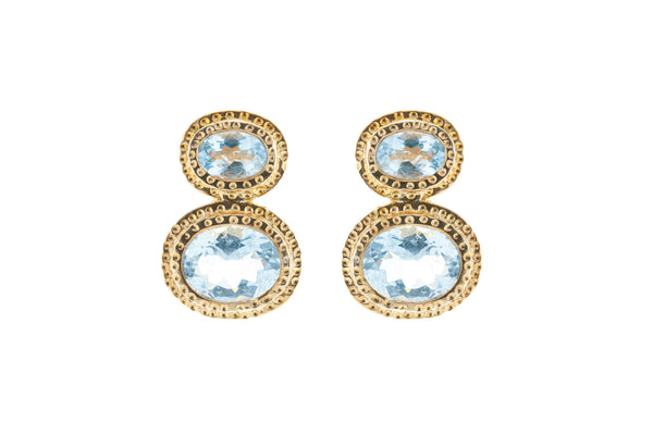 Double Aquamarine Stones set in 18K Gold Vermeil