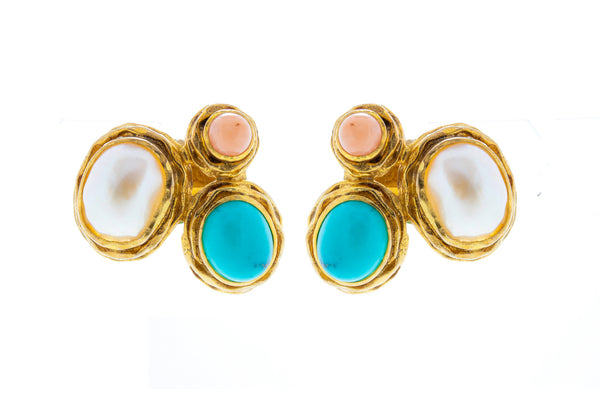 Turquoise Coral and Fresh Water Baroque Pearl in Silver with 18K Gold Vermeil