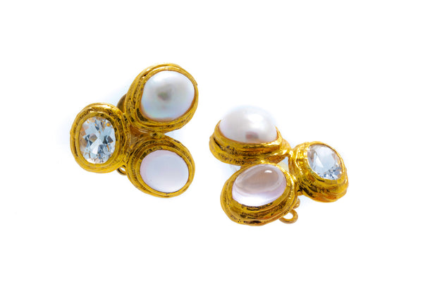 White Topaz, Rose Quartz, and Fresh Water Baroque Pearl in Silver with 18K Gold Vermeil