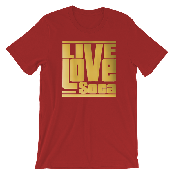 Gold Mens Red T-Shirt - Regular Fit - Live Love Soca Clothing & Accessories
