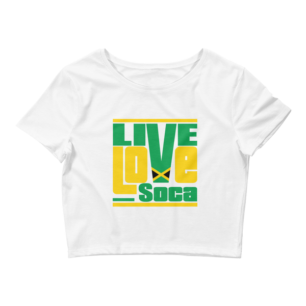 Jamaica Islands Edition Womens White Crop Tee - Fitted - Live Love Soca Clothing & Accessories