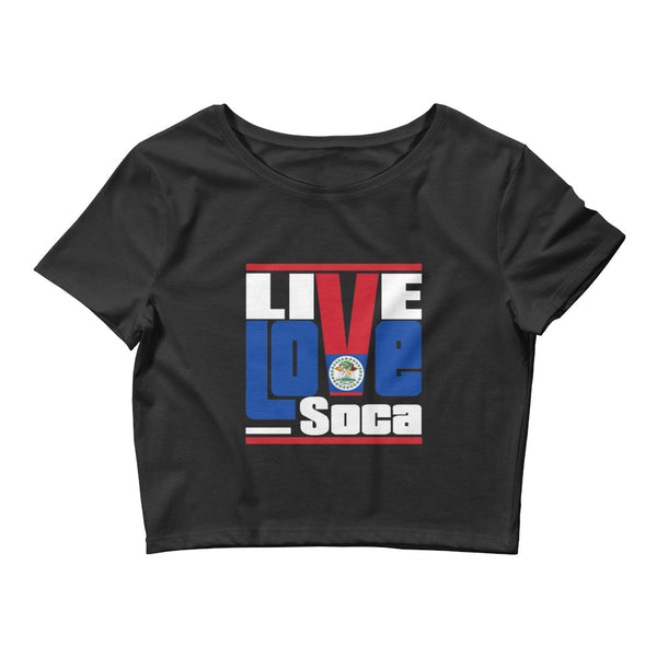Belize Islands Edition Womens Black Crop Tee - Fitted - Live Love Soca Clothing & Accessories