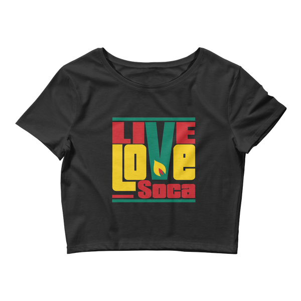 Grenada Islands Edition Womens Black Crop Tee - Fitted - Live Love Soca Clothing & Accessories