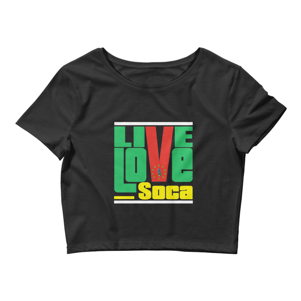 Dominica Islands Edition Womens Black Crop Tee - Fitted - Live Love Soca Clothing & Accessories